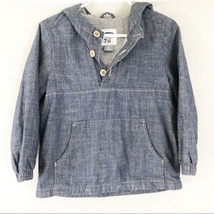 🎉 Old Navy Blue Chambray Pullover Hoodie Sz 3T